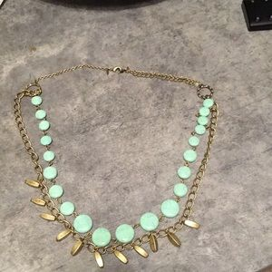 Loft Turquoise tone and antique gold necklace